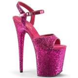 rosa 20 cm FLAMINGO-810LG glitter platå høye hæler dame