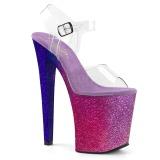 rosa 20 cm XTREME-808OMBRE glitter platå høye hæler dame