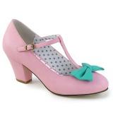 rosa 6,5 cm WIGGLE-50 pinup pumps sko med blokkhæl