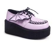 rosa 7,5 cm CREEPER-205 platå creepers sko - dame platåsko med flaggermusvinger