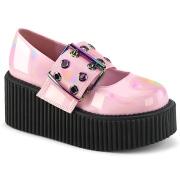 rosa 7,5 cm CREEPER-230 maryjane creepers sko - platåsko med spenne