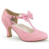 rosa 7,5 cm retro vintage FLAPPER-11 pinup pumps med lave hæler