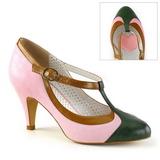 rosa 8 cm retro vintage PEACH-03 pinup pumps med lave hæler