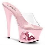 rosa gjennomsiktig 18 cm Pleaser MOON-701TG platå høye mules