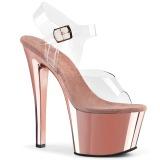 rosa gjennomsiktig 18 cm SKY-308 platå høye hæler sko