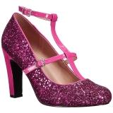 rosa glimmer 10 cm QUEEN-01 store størrelser pumps sko