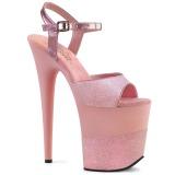 rosa glinser 20 cm Pleaser FLAMINGO-809-2G høye hæler platå