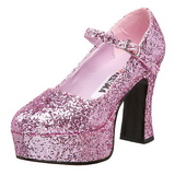 rosa glitter 11 cm MARYJANE-50G platå pumps mary jane