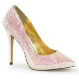 rosa glitter 13 cm AMUSE-20G høye pumps fest sko med hæl