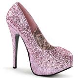 rosa glitter 14,5 cm BORDELLO TEEZE-06G platå pumps høy hæl