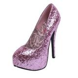 rosa glitter 14,5 cm Burlesque BORDELLO TEEZE-06G platå pumps høy hæl