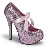 rosa glitter 14,5 cm TEEZE-10G platform pumps sko