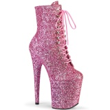 rosa glitter 20 cm FLAMINGO-1020GWR høyhælte ankelstøvletter - pole dance støvletter