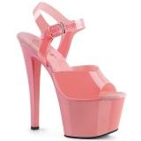 rosa høye hæler 18 cm SKY-308N JELLY-LIKE strekkmateriale platå høye hæler