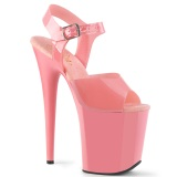 rosa høye hæler 20 cm FLAMINGO-808N JELLY-LIKE strekkmateriale platå høye hæler