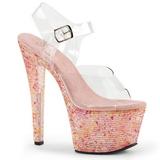 rosa krystall 18 cm CRYSTALIZE-308TL høye fest sandaler med hæl