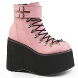 rosa kunstlær 11,5 cm KERA-21 lolita ankelstøvletter kilehæler platå