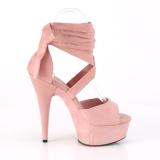 rosa kunstlær 15 cm DELIGHT-679 høye hæler med ankel blonder