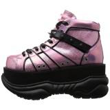 rosa kunstlær 7,5 cm NEPTUNE-100 platå gotisk sko til menn