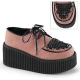 rosa kunstlær CREEPER-216 platå creepers sko til kvinners