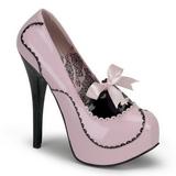 rosa lakk 14,5 cm Burlesque BORDELLO TEEZE-01 platå pumps høy hæl