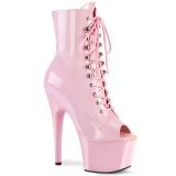 rosa lakk 18 cm ADORE-1021 ankelstøvletter med platåsåle til dame