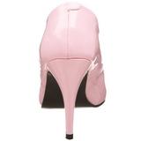 rosa lakkert 10 cm VANITY-420 spisse pumps med høye hæler