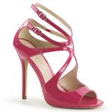 rosa lakkert 13 cm AMUSE-15 høye fest sandaler med hæl