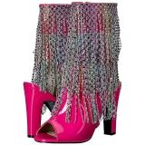 rosa lakklær 10 cm QUEEN-100 store størrelser ankelstøvletter dame