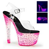 rosa neon 18 cm Pleaser CRYSTALIZE-308PS platå høye hæler sko