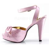 rosa satin 12 cm PINUP COUTURE BETTIE-04 platå høye hæler sko