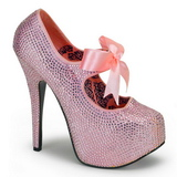 rosa strass 14,5 cm Burlesque TEEZE-04R høye platform pumps sko