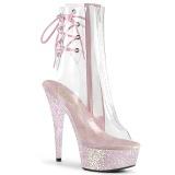 rosa transparent 15 cm DELIGHT-1018C høyhælte ankelstøvletter - pole dance hæler