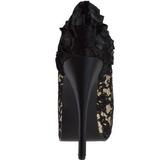 satin beige 14,5 cm Burlesque TEEZE-19 platå stilett pumps sko