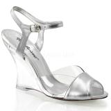 sølv 10,5 cm LOVELY-442 wedge sandaler med kilehæl