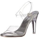 sølv 11,5 cm CLEARLY-408 høye fest sandaler med hæl
