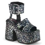 sølv 12,5 cm Demonia CAMEL-102 lolita sandaler med platå