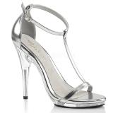 sølv 12,5 cm Fabulicious POISE-526 dame sandaler med hæl