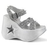 sølv 13 cm Demonia DYNAMITE-02 lolita sandaler med kilehæler