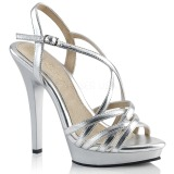 sølv 13 cm Fabulicious LIP-113 dame sandaler med hæl