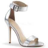 sølv 13 cm Pleaser AMUSE-10 dame sandaler med hæl