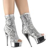 sølv 15 cm DELIGHT-1008SQ dame ankelstøvletter med paljetter