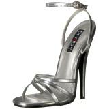 sølv 15 cm Devious DOMINA-108 dame sandaler med hæl