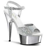 sølv 15 cm Pleaser DELIGHT-609G krom platå høye hæler