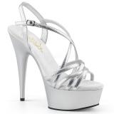 sølv 15 cm Pleaser DELIGHT-613 sandaler med høye hæler