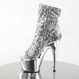 sølv 18 cm ADORE-1008SQ dame ankelstøvletter med paljetter