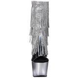 sølv 18 cm ADORE-1017RSFT høye ankelstøvletter med frynser til dame