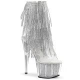 sølv 18 cm ADORE-1017SRS høye ankelstøvletter med frynser til dame
