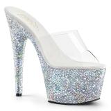 sølv 18 cm ADORE-701LG glitter platå slip ins dame med hæler