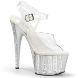 sølv 18 cm ADORE-708VLRS high heels platå med strassteiner
